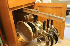 Legalized Pot Rack Pull Out Hanging Pot and Pan Lid Rack Cookware Organizer in Home & Garden, Kitchen, Dining & Bar, Kitchen Storage & Organization Clever Kitchen Storage, Kitchen Cabinet Organization, Kitchen Cupboards, Storage Cabinets, Clever Kitchen Ideas, Kitchen Island, Kitchen Pans, Bar Kitchen, Kitchen Tables