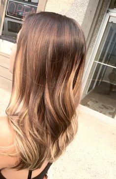 Blonde highlights in brown skin. Medium hair with underneath highlights.