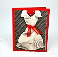 Ladies Dress Blank Card Black and Red Greeting от MoreFriendsAndCo