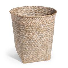 Cesto de papel trenzado de fibra vegetal blanca Al. 27 cm