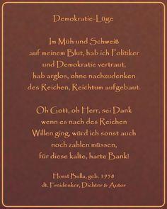 Bildgedicht Demokratie-Lüge - Gedicht von Horst Bulla, dt. Freidenker, Dichter & Autor - Gedichte - Zitate - Quotes - deutsch