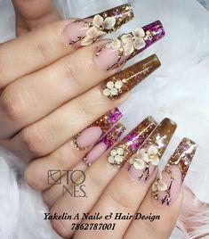 Beautiful Nail Art, Gorgeous Nails, Pretty Nails, Nail Art Designs, Long Nail Designs, Gold Glitter Nails, Bling Nails, Nail Art Inspiration, Queen Nails