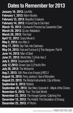 Dates to remember for 2013... must remember!