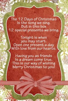 I originally posted this idea, but since have changed a lot! This is the story:   My mother-in-law introduced me to doing the 12 Days of Chr...