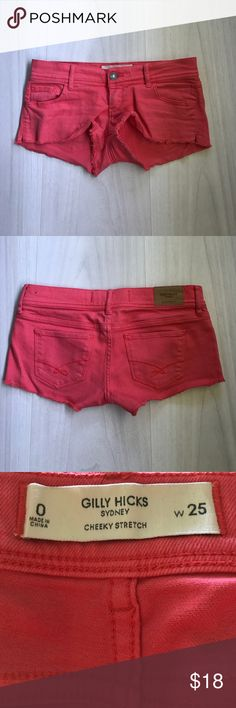 Gilly Hicks cheeky stretch coral jean shorts 0 Shorts by Abercrombie's old sister company, Gilly Hicks. Size 0/25 w. Cheeky stretch style in a salmon/coral color. Worn but great condition Abercrombie & Fitch Shorts Jean Shorts