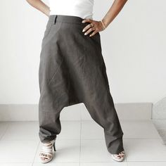 SALE 50 % Off Linen Cotton Ninja Three Quarter Length, Unisex. Dark Grey Color,. $23,99, via Etsy.