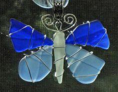 Sea Glass Pendant Sea Glass Butterfly Pendant in by oceansbounty, $20.00