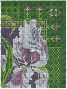 Cross stitch - flowers: Iris - cushion (chart - part A2)