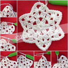 Stjärnformad-mormorsruta-by-bautawitch-steg-4 Free Crochet Snowflake Patterns, Crochet Throw Pattern, Crochet Table Runner Pattern, Crochet Bikini Pattern, Crochet Stars, Knitting Blogs, Knitting Kits, Baby Knitting, Knitting Patterns