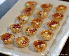 Brie Bites: brie in small pieces in the phyllo shells and top with about a 1/2 teaspoon of apricot preserves. Bake at 350 for about 20 minutes