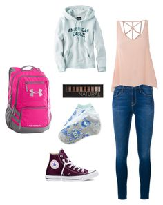 """School"" by atippman on Polyvore featuring Frame Denim, Glamorous, Converse, Forever 21, American Eagle Outfitters, Under Armour and Aéropostale"