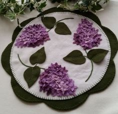 Lilac Beauty Wool Applique Penny Rug Candle Mat Pattern Cath's Pennies Designs