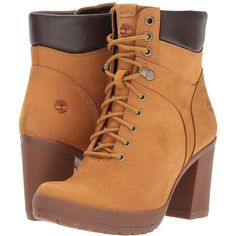Timberland Camdale Field Boot (Wheat Nubuck) Women's Lace-up Boots ($140) ❤ liked on Polyvore featuring shoes, boots, ankle boots, long high heel boots, lace-up bootie, bootie boots, long boots and laced ankle boots