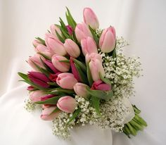 Bouquet with spring tulips and babies breath