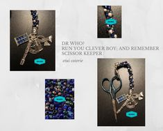 Dr Who? - Run You Clever Boy; and Remember - Scissor Keeper / Bag Charm Kit Sonic Screwdriver, Midnight Sky, Sewing Box, Sewing Accessories, Dr Who, Stitch Markers, Tardis, Scissors, Compliments
