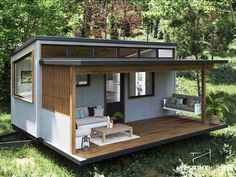 Tiny House Living, House 2, Container Cafe, Tiny House Exterior, Tiny House Design, House Layouts, Patio, Shed, Home And Garden