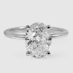 18K White Gold Petite Comfort Fit Ring // Set with a 2.01 Carat, Oval, Good Cut, J Color, SI1 Clarity Diamond #BrilliantEarth