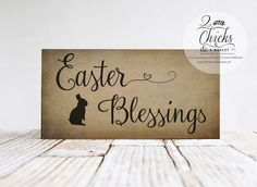 Easter Blessings Primitive Sign Happy Easter by 2ChicksAndABasket