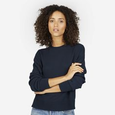 0415262a4c Women s Cotton Long-Sleeve Crew Sweater by Everlane in Navy