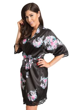 Glam up for your big day with our newly arrived floral lace satin kimono  robes - edea5bf18