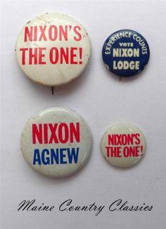 578ea6e4147 4 Vintage Presidential Campaign Political Pinback Buttons Pins Nixon Agnew  Lodge