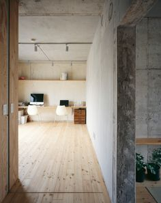 Plywood panels are used in place of traditional fusuma (sliding doors)