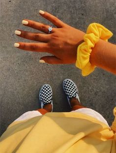 Scrunchies - Laura Sendra - Scrunchies - just. - justin potter 727 - Scrunchies - Laura Sendra - Scrunchies - just. Yellow Vans, Roller Disco, Yellow Theme, Yellow Style, Vsco Pictures, Go For It, Summer Aesthetic, Aesthetic Yellow, Aesthetic Girl