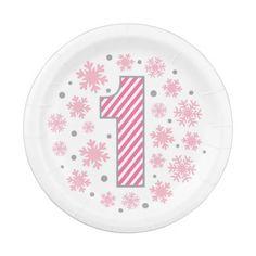 Pink Snowflake 1st Birthday Paper Plate