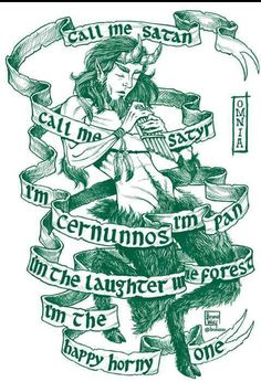 Artist: Bruno WolfText: Omnia - Call me Satan Pan Mythology, God Tattoos, Mythology Tattoos, Greek Gods And Goddesses, Eclectic Witch, Green Man, Ex Libris, Book Of Shadows, Fantasy Creatures