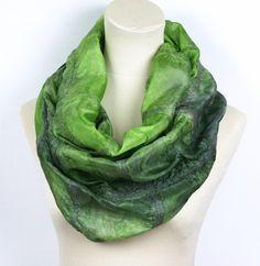 Nuno Felted Hand Dyed Infinity Silk Scarf - Green, Grey - Loop Reversible Scarf £40.00