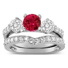 Luxurious 2 Carat Ruby And Diamond Wedding Ring Set In 10K White Gold # Free Stud Earrings by JewelryHub on Opensky