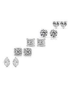 Swarovski® Crystal & Sterling Silver Stud Earrings Set