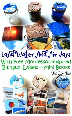 DIY montessori-inspired Land, Water and Air jars to introduce children to geography. With free multilingual labels and free mini printable books. PErfect for toddlers and preschoolers