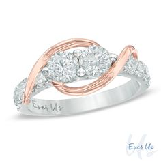 Ever+Us™+1/2+CT.+T.W.+Two-Stone+Diamond+Swirl+Band+in+14K+Two-Tone+Gold