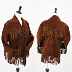 vintage 60s brown SUEDE leather FRINGE hippie jacket Size L by PasseNouveauVintage, $75.00