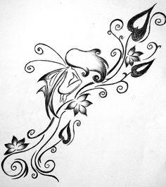Flower Vine n Butterfly Tattoo Stencil fotó - 5