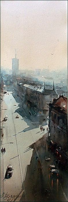 Dusan Djukaric     View from the Palace of Albania, watercolor, 20x60 cm