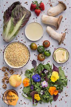 Sonnenweizen-Salat mit Grillgemüse Zutaten / Wheat Salad with Grilled Vegetables ingredients