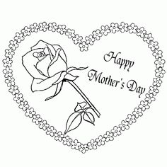Hearts And Roses Coloring Pages | ... pictures - Picture tags: heart, flower, mother s day, coloring, page