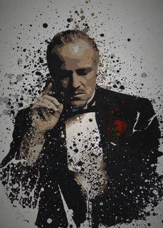 godfather don vito corleone pop culture splatter gangster marlon brando - Vasil Godfather Tattoo, The Godfather Poster, The Godfather Wallpaper, Godfather Movie, Monkey Illustration, Don Corleone, Pop Art, Movie Poster Art, The Godfather