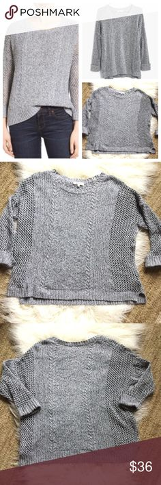 """Madewell Marled Plaza Pullover sweater. Madewell Marled Plaza Pullover sweater in a gray/white/black intertwined woven knit.  Different knit patterns add to the texture. Rolled up shorter sleeves, solid in the center and larger knit on the side and sleeves.  Size large.  Approximate measurements 24"""" armpit to armpit, 24"""" length, oversized fit.  EUC. Madewell Sweaters Crew & Scoop Necks"""