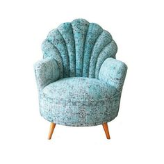 French Shelled Back Armchair, Covered with Over-dyed Vintage Rug,... ($1,350) ❤ liked on Polyvore featuring home, furniture, chairs, accent chairs, hand made wood furniture, timber furniture, handmade wooden chairs, wooden furniture and padded chairs