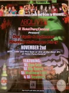 Hallow Dead Party on Nov. 2012 at Hotel Parq Central! Halloween Flyer, Halloween Party, Nov 2, Guinness, Presents, Gifts, Favors, Halloween Parties, Gift