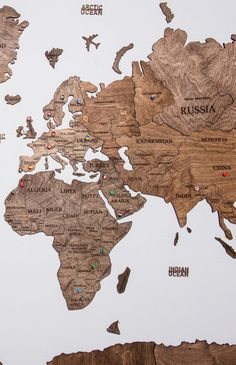 Brown Farmhouse Wooden World Map with USA borders by WoodPecStudio. Travel push pin maps for wall office decor, bedroom and living room rustic decor, hallway decoration. World maps from wood for wall decor in farmhouse style. Push Pin World Map, World Map Wall Art, Map Wall Art, Anniversary Gift, Wooden Travel Push Pin Map, Housewarming Gift #mapdecor #bedroomdecor #homedecor