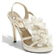BP. Platinum 'Medina' Sandal Ivory 10 M (45 CAD) ❤ liked on Polyvore featuring shoes, sandals, wedding, heels, sandals/slides, women, bp. shoes, ivory shoes, high heel platform shoes and bp.