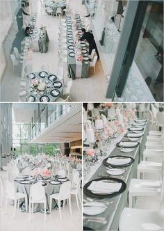 Wedding reception at the royal conservatory of music wedding table setup, w Wedding Table Setup, Wedding Table Settings, Wedding Reception Decorations, Wedding Themes, Baptism Decorations, Wedding Ideas, Wedding Colors, Wedding Venues, Grey Wedding Decor