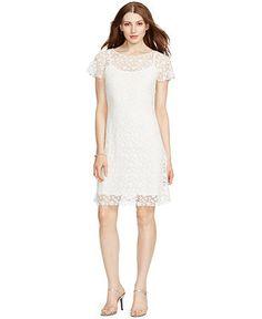 Lauren Ralph Lauren Crocheted-Lace Short-Sleeve Dress - Dresses - Women - Macy's