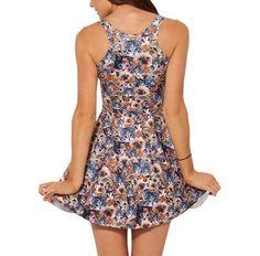 Print Cute Cat Reversible Dress