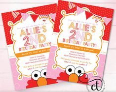 Elmo Invitation, Girl Elmo Invite, Pink, Elmo Birthday, Sesame Street Invitation, Sesame Street Invite, Elmo Birthday Party, Party (E7)