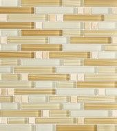 Zen Jura Gold Polished & Froasted Random Bricks Pattern Mesh-Mounted Marble & Glass Mosaic Tiles